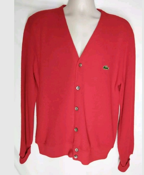 11c3920c VINTAGE IZOD Lacoste Cardigan Sweater RED 60s 70s